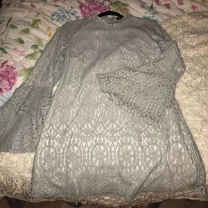 Gray eyelet/lace dress with bell sleeves
